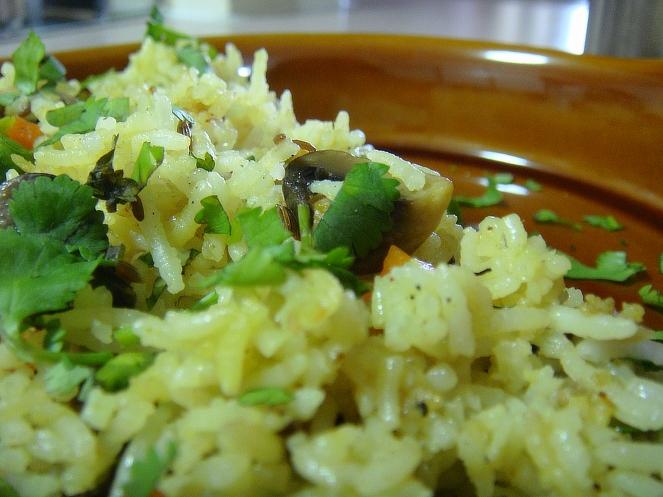 Mushroom Carrots and Peas Pulav.