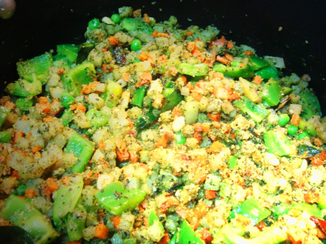 Veggies getting cookied in the Pudina Paste.
