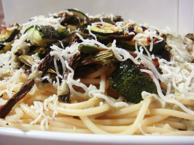 Spaghetti with Roasted asparagus & zucchini with basil pesto creamy sauce.