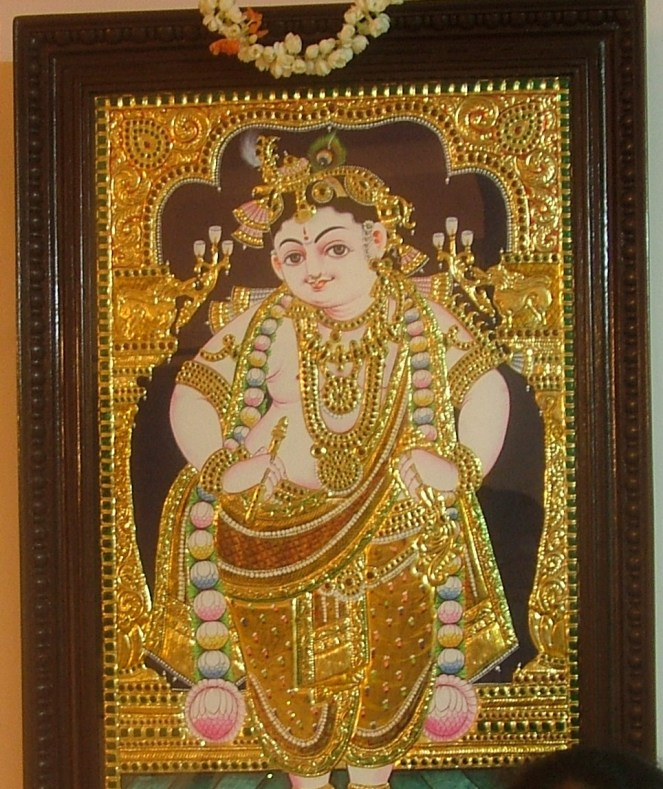 Lord Shri Krishna in a lovely Tanjore Painting at my home.