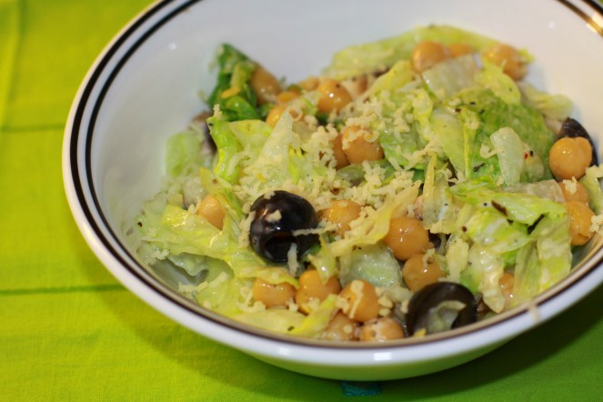 Garbanzo Lettuce Sald with Olive Oil Dressing.