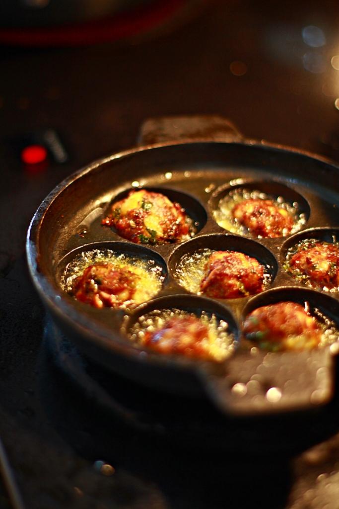 Kofta Balls fried in the Abelskiver Pan.